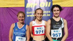 The top three women (from left): Belinda Kehoe (second), Claire Barrett (first), Kate Murphy (third).