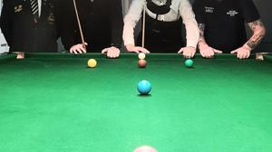 Adamstown snooker player Adrian Morrissey (second right) had a fine win in Tralee.