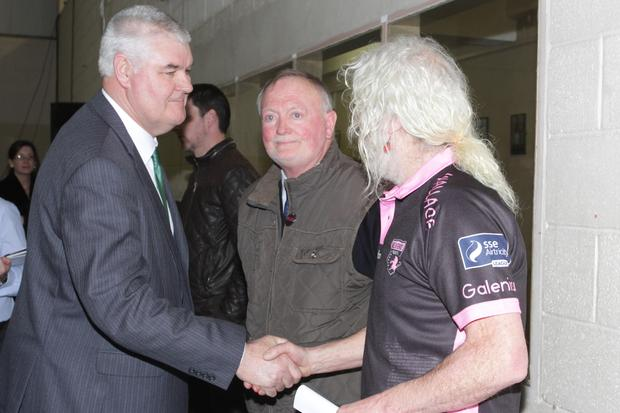 Mick Wallace gets elected and get a handshake from Johnny Mythen