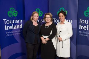 Geraldine Egan, Tourism Ireland (centre); with Roz Kelly (left) and Margaret Jeffares, both Good Food Ireland, based in Drinagh, at the launch of Tourism Ireland's 2017 marketing plans in Dublin.
