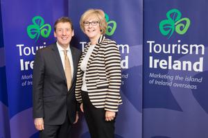 Shane Clarke, Tourism Ireland, and Fiona Delahunty, Monart Destination Spa and Ferrycarrig Hotel, at the launch.