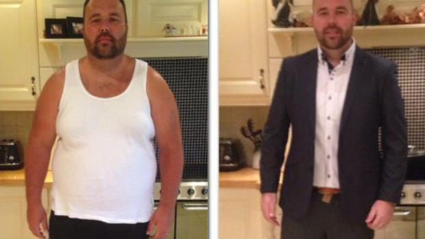 Kieran Kinsella, before and after losing eight and a half stone.