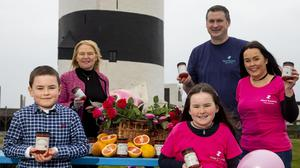Front: Robbie and Lila Sinnott with (back) Linda Keating from the Marie Keating Foundation and Tom and Laura Sinnott, owners of Wexford Preserves, at Hook Lighthouse. Photo: Mary Browne
