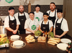 Jack O'Hara, head chef Val Murphy, Gillian Sinnott, Sylwia Biz, Rosie Poole, head carvery chef Tomasz Grzywa and Andraa Vasilica who are members of the kitchen team at the Ashdown Park Hotel who were Ireland's best roast competition winners