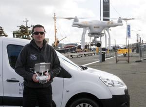 Páid and his drone on Wexford Quayfront at the weekend.