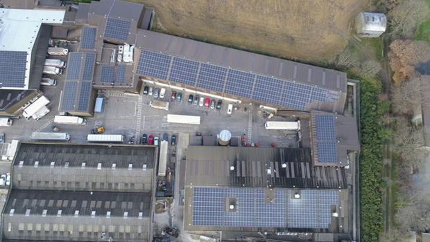 An aerial view of the new solar panels on Stafford's Bakery
