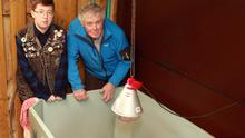 Seal Rescue Ireland volunteer Jay Campell with store manager of Heiton Buckley orey, Robert Deacon