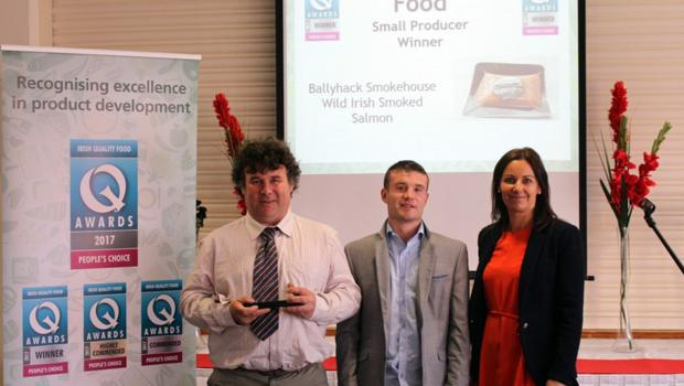 Michael Walsh, Paddy Walsh and Dr Tracey Larkin who presented the award.