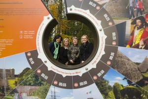 Siobhan O'Neill from Wexford County Council, Orla Woods of Fáilte Ireland, Norma Quinsey, Marketing Manger, Wells House and Sabine Rosler Owner/Manager of Wells House at the Ireland's Ancient East Sign at Wells House, Ballyedmond, Co. Wexford.