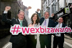 Launching the 2018 Wexford Business Awards on Wexford's North Main Street: Tom Enright (CE, Wexford County Council), Enda Kavanagh (CE, Wexford Chamber), Niall Reck (Chamber president) and Graham Scallan (vice president)