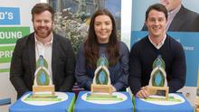 Mark Rowe, Kilmore, winner of the Best Start Up Bussiness, for his company Dynomed; Michelle O'Neill, Camolin, winner of the Best Business Idea, for her company The Perfect Job and Willie Devereux, Wexford, overall winner and winner of the Best Established Business, with his business National Ice Cream Wholesale Ltd.