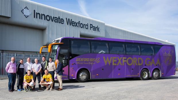 Back row: Anthony Neville (Wexford GAA Commercial Steering Group), Davy Fitzgerald (Wexford Senior Hurling Manager), Derek Kent (Chairman of Wexford GAA), Brendan Crowley (Managing Director, Wexford Bus), Paul McLoughlin (Wexford Senior Football Manager), Éanna Martin (Commercial Manager Wexford GAA), Micheal Martin (Vice Chairman Wexford GAA). Front L to R: Michael Furlong (Senior Football Captain) Matthew O'Hanlon (Senior Hurling Captain)