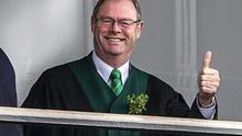 On the reviewing stand for the Wexford St Patrick's Day parade, of which he was a big supporter.  This is the profile picture Fergie used on his Facebook page.