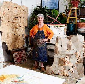 Artist Helen O'Leary with some of her work