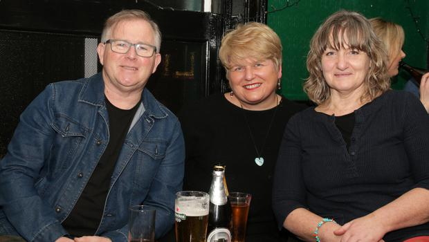 Paul Smythe, Clodagh Dunleavy Smyth and Doreen Ryan at the Wexford Music Club open chair night in Mackens Bar