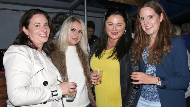 Sinead Buckley, Sarah Jane Lawlor, Eadaoin Lawlor and Catherine Mahoney enjoying their night out at Live at the Castle Marquee in St Martin's GAA grounds
