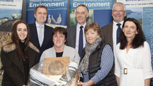Anne White, Kilmore with her award at the annual Wexford County Council Environment awards 2019 in the Ferrycarrig Hotel. From left - Fiona Bennett, Deputy James Browne TD, Anne White, Hugh Maguire (Environment Officer, WCC), Liz Freeman, Cllr Pip Breen, Cliona Connolly (Environment Education Officer, WCC). Photo: Jim Campbell Photography