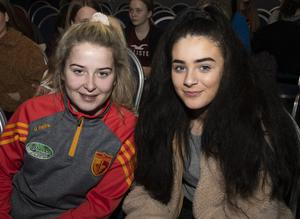 Molly Donohoe and Ciara Godkin enjoying an entertaining show at the second semi-final of Wexford Has Talent in Clayton Whites Hotel