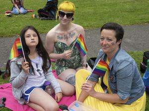 Keela Morris, Sarah Reardon and Aislinn Wallace enjoying their day out at Pride In The Park in Redmond Park