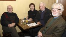 John Harpur, Eileen Furlong, Eamon Furlong and Jim Ffrench at Bannow Historical Society's talk on the history of Carrig-on-Bannow by Brendan Hayes in Colfers Pub