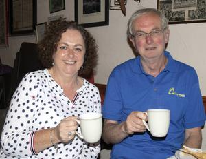 Carmel Foley and Joe Costello enjoying a cuppa at the Bewleys coffee morning in aid of Wexford Hospice Homecare in The Forge, Crossabeg