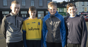 Harry Sherlock, Rory Davis, Jack Halpin and Conor Wicherley taking part in the annual GOAL Mile Run/Walk on Wexford Quay on St Stephen's Day