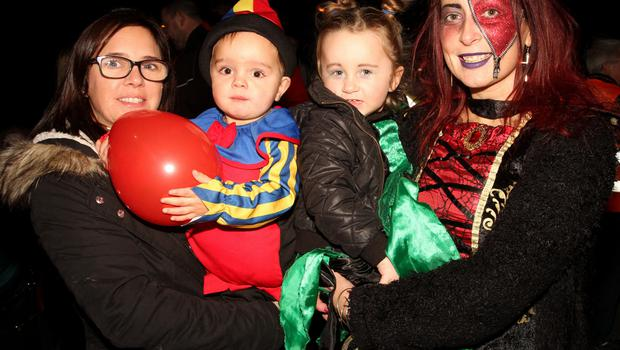 Martina Roche, Darragh Roche, Davy Frayne and Susan Nolan having fun at the Halloween costume parade for local kids in Ferndale.