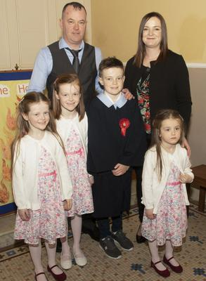 Mayglass NS Kyle Walsh on the occasion of his Confirmation in Ballymore Church, with his parents Darren and Emily and sisters Kayle, Hannah and Grace