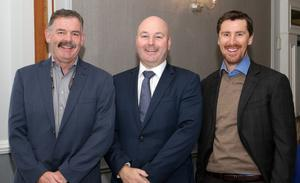 James O'Connor, Colm Murphy and Jim Hughes at the PricewaterhouseCoopers budget breakfast in The Talbot Hotel