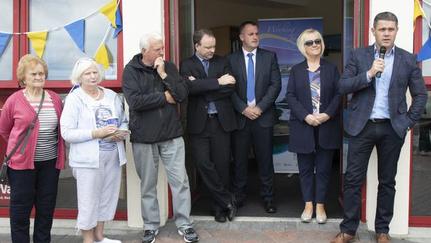 Marie Carr, Imelda Lawlor, Pat Doyle, Alan Murphy, Sean Boyce, Angela Laffan (District Manager Wexford County Council) and Cllr Ger Carthy at the official opening of Rosslare Harbour Community Resource Centre