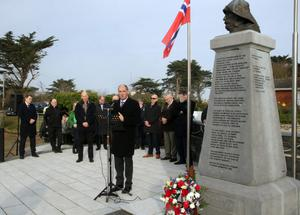 Minister Paul Kehoe addressing the crowd at the annual commemoration at the Lifeboatmen's Memorial in the Burrow, Rosslare