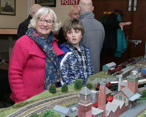 Breda Kehoe with her gransdson Eamon Fortune at Wexford Model Railway Club's annual exhibition in St Joseph's Community Centre