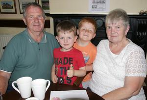 Michael Quirke, Adam Ryan, Conor Ryan and Mary Quirke at the coffee morning in aid of Lochlann Doyle held in St Martin's GAA clubhouse