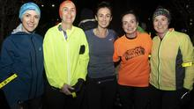 Leanne Nolan, Fiona McGrath, Roisin Roche, Siobhan Lillis and Susie Pierce taking part in the Wexford Rotary Run In The Dark in aid of The Mark Pollock Trust