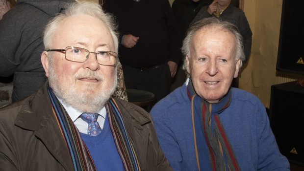 Stephen Hayes and Tom Harris at Bannow Historical Society's talk on the history of Carrig-on-Bannow by Brendan Hayes in Colfers Pub