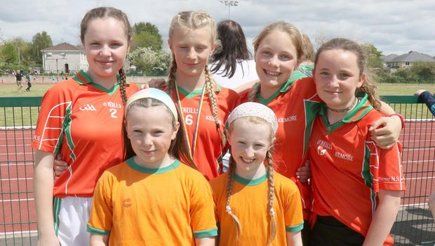 Kilmore NS pupils who competed at the Primary Schools Athletics Finals in Enniscorthy Sports Hub: back - Molly Moran, Leah Wall, Aine Fortune and Hollie Doyle; front- Cerys Roche and Jennifer Whelan