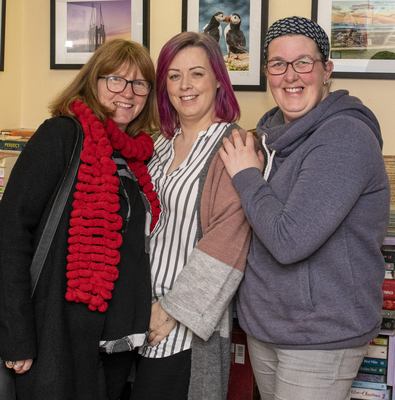 Jackie Stafford, Josephine Culleton and Mag Bohanna at the opening of the art and photography exhibition in Red Books in Peter Square