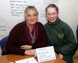 Lauren Reck (right) with Aisling Hebblethwaite, advanced nurse practitioner at the careers night in the Presentation Secondary School