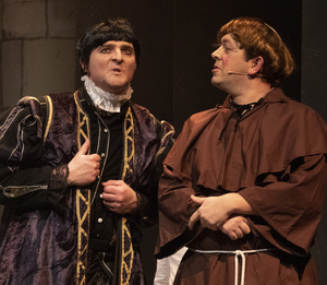 Neal O'Leary as the Sheriff of Nottingham and Craig Healy as Friar Tuck in the pantomime 'Robin Hood' at the Dun Mhuire Theatre