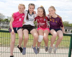 Clara Kelly and Tara Cullen (Mayglass NS) and Katie Audsley and Eva Cashman (Murrintown NS) at the Primary Schools Athletics Finals in Enniscorthy Sports Hub.