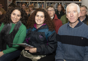 Karla Sanchez O'Connell, Silvana Rhoads and Senan O'Reilly at the talk 'Can We Change? A Climate Action Discussion' in Wexford Library as part of Science Week
