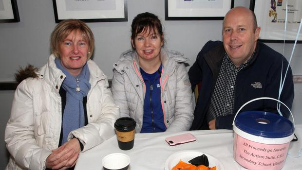 Fiona McMahon, Noeleen Browne and Colin Browne at the coffee morning in Pettitts Supervalu St Aidans Crescent in aid of the Autism Suite in the CBS Secondary School.