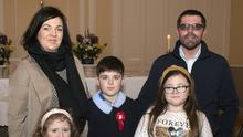 Mayglass NS pupil Nicky Lambert on the occasion of his Confirmation in Ballymore Church, with his parents Leona and Justin and sisters Sophie and Emma