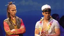 Action from the St Peter's College and Loreto Secondary School production of 'South Pacific' in the Irish National Opera House: Hannah Devereux as Bloody Mary and James O'Leary as Billis