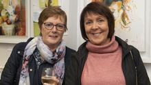 Jo Hayes and Rose Colfer at the opening of Jeanne Ffrench and Laura Harpur's exhibition at 93 North Main Street