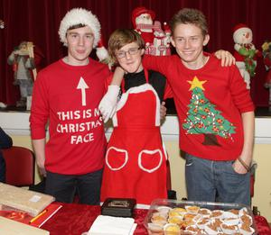 Kyle Reck, Padraic Jordan and Dylan Kavanagh at the Wexford CBS Christmas Fair in St. Michael's Hall on Friday afternoon.