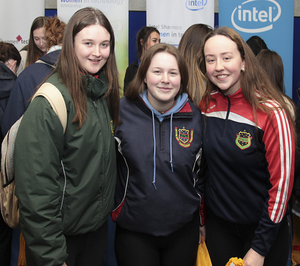 Presentation Secondary School students Hannah Lacy, Kate Rossiter and Hannah Hearne at the Women in Technology Speakers Event in Waterford Institute of Technology