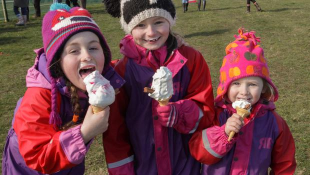 Leah Walsh, Lilly McLoughlin and Mia McLoughlin enjoying their ice cream at the point to point in Lingstown on Sunday afternoon.