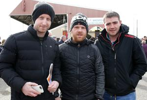Shane Goff, Barry Sinnott and Kevin Casey enjoying a day at the Wexford Races in Bettyville Racecourse