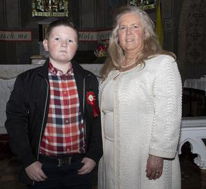 Andy Connors with his nan Ann Moorehouse at his Confirmation in Taghmon
